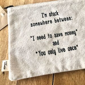 Printed Zippered Canvas Pouch NEW WITH TAGS